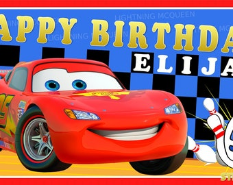 Disney Pixar's Cars 2 Bowling Party Personalized Custom Birthday Banner Party Decoration