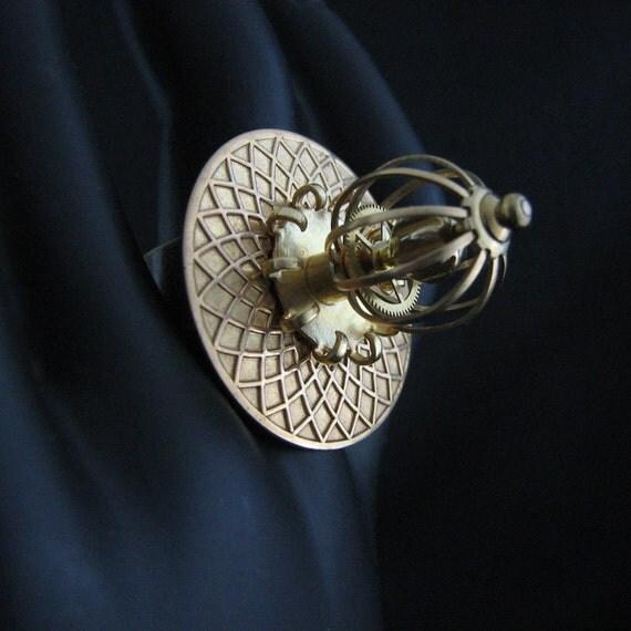 steunk ring gears jewelry mechanical handmade by