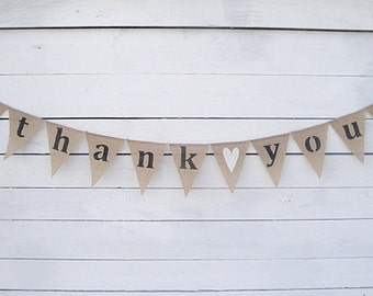 THANK YOU Burlap Banner Bunting with White Glittered Hearts