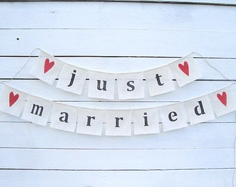 Just married burlap bunting banner - wedding garland - photography prop