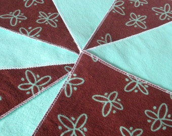 Diaper wipes/Flannel washcloth/Cloth Diaper Wipes for Baby, Butterflies (10)
