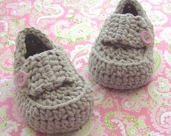 Baby Girl Shoes, Crochet Baby Booties, Loafers, Size 3/6 Months,
