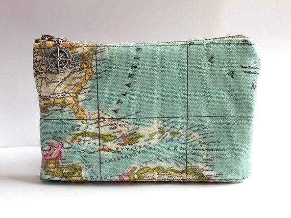 Vintage Map Toiletry Bag Personalized Groomsmen Gift, Travel Cosmetic Pouch, Destination Wedding Gifts for Him, Explorer Men Accessories