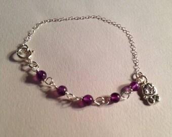 Purple Bracelet February Birthstone Jewelry Amethyst Gemstone Jewellery Cat Charm Sterling Silver Chain
