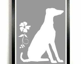 Greyhound Print, Dog Silhouette, Modern Dog Art