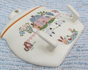 Cottage Chic Wall Hook with Sheep a Cat and Ducks with Flowers in a Country Scene Ceramic Made in Japan