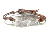 Abrau Sterling Silver Feather Charm Link Connector Genuine Leather Wrap Bracelet  Red Black Brown Pink