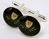 Woodland Owl Cufflinks  Sterling Silver Cuff Links  Handmade Geekery Men's Accessory Father's Day Wedding Autumn Fall Whimsical Owls - OrionOctober
