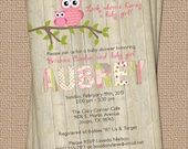Owl baby shower invitation with wood background, digital, printable file