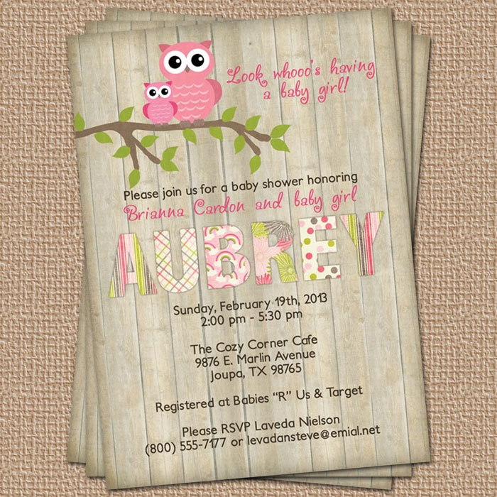 Vintage Owl Baby Shower Invitations: Owl Baby Shower Invitation With Wood Background Digital