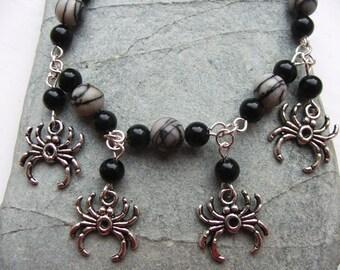 Spider Charm Bracelet - Picasso Jasper - Black Onyx - Gemstone Beads