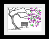 A3 16.5 x 11.5 inch Romantic Blossom Fingerprint Tree Kit Wedding Guest Book up to 100 guests