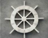 Black and White Nautical Photography | Ship Wheel Decor | Instant Digital Download | Printable Beach Art | Minimalist Still Life | Maritime