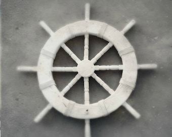 Captain's Wheel Black and White Nautical Photography   Ship Wheel Decor Instant Digital Download   Printable Beach Art   Minimalist Maritime