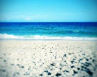 Printable Beach Art   Turquoise Sea, Ocean Waves, Blue Sky   Instant Digital Download Beach Photography   Printable Beach House Decor Art