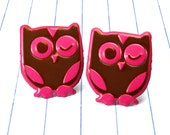 pink owl earrings - owl jewelry - owl earrings - owl studs - owls - bird earrings - bird jewelry - pink earrings - pink jewelry - pink