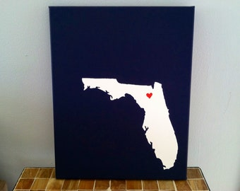 "Florida Love Painting - 11x14"" canvas - Customized and hand painted Copy"