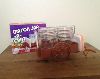 Vintage mason jar n wagon salt and pepper shaker set