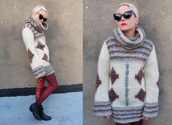 Striped Geometric Chunky Knit Huge Cowl Neck Flared Sleeve Sweater