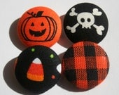 Halloween Buttons, Fabric Covered, Set of Four