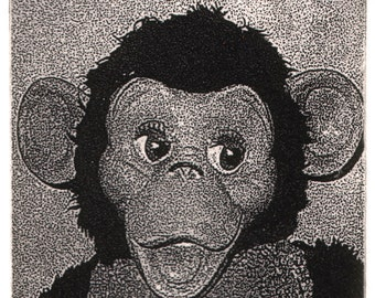 Zippy, an limited edition, signed etching of a vintage stuffed monkey toy