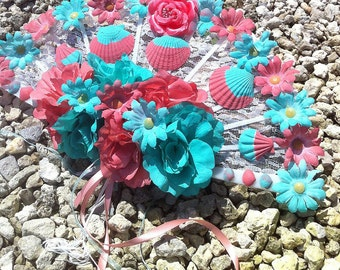 Fan Bouquet Seashell Bouquet in Coral and Turquoise