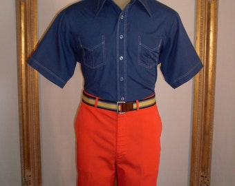 Vintage 1970's JCPenney Dark Blue Short Sleeve Shirt - Size Large