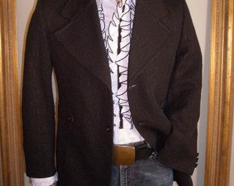 Vintage 1970's Black Textured Jacket with Wide Collar - Size 40 (medium)