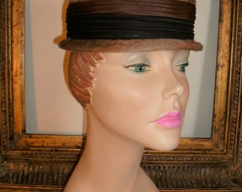 Vintage 1950's Lemington Brown Velour Hat