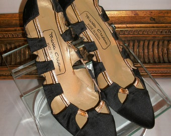 Vintage 1960s Maria Cristina Black Fabric & Gold  Evening Pumps - Size 6 1/2