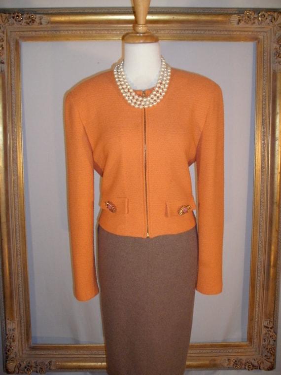 Vintage Orange Knit Zip Front Jacket by St. John -  Size 8