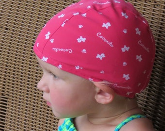 Lycra SWiM CaP - PINK DOG - Sizes - Baby , Child , Adult , XL - Made from Spandex / Swimsuit Swimming Fabric -by Froggie's Swim Caps