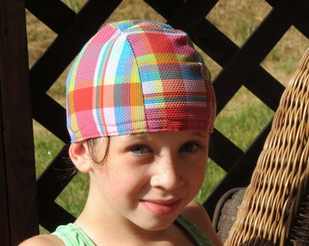 Lycra SWiM CaP - POOL Party PLAID - Sizes - Baby , Child , Adult , XL - Made from Spandex / Swimsuit Swimming Fabric -by Froggie's Swim Caps