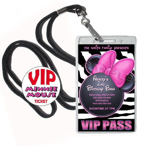 Minnie Mouse Birthday invitation 24 VIP style complete with badge cases, swivel lanyards, envelopes & VIP envelope stickers