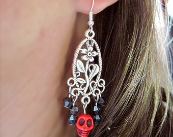 Halloween Dia de los Muertos, Day of the Dead Skulls & Crystals Pierced Earrings