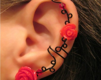 "Non Pierced Ear Cuff  ""Briar Rose"" Cartilage Conch Cuff Black Wire Prom Quinceanera"