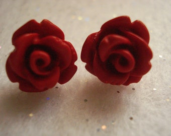 Deep Red Rose Cabochon Polymer Clay Post Earrings Set On Titanium Post Size  9-10mm