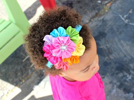 Rainbow Satin Cluster Headband Photo Prop on Elastic with Rhinestones. Pink, blue, yellow, purple. Newborn, Baby, Toddler, Girl, Adult