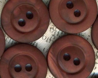 30 Vintage Lustrous Satin Chocolate Burgundy Sewing Buttons ~ 9/16 inch 15mm