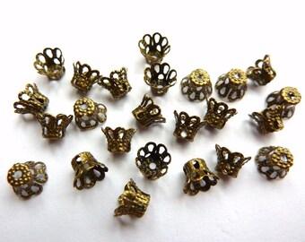 30 bead caps, mini, bronze