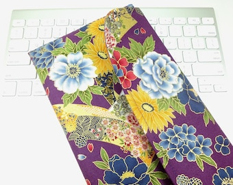 Apple Wireless Keyboard Sleeve Japanese wireless keyboard Case Kimono pattern fabric peony purple
