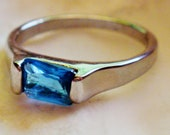 Silver Tone and Blue Topaz Color Wedding Band Ring - Size 8