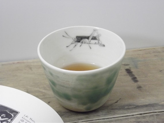One Porcelain Sage Green Grasshopper Tea Cup