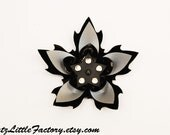 Big spiky silver reflective and black PVC Cyber Flower studded gothic industrial hair clip