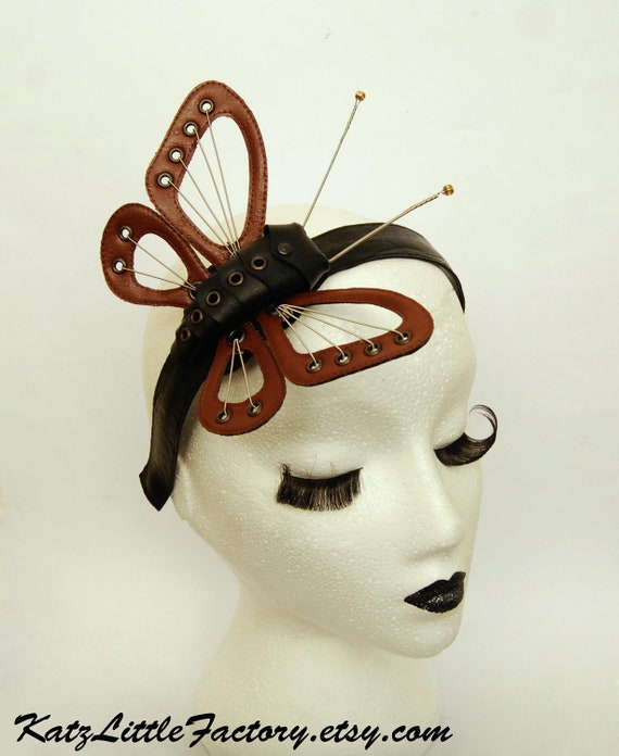 Smaller version steampunk inspired brown and black headband sculptured  butterfly guitar strings leather wings