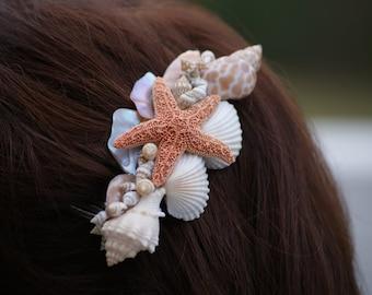 Beach/ Wedding, Starfish, Seashell Hair Comb Accessory