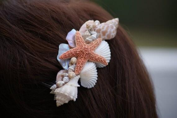 Items similar to beach wedding starfish seashell hair for Seashells for hair