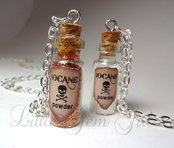 Iocane Powder Glass Bottle Necklace - Poison Potion Vial Charm pick your poison, sorry color