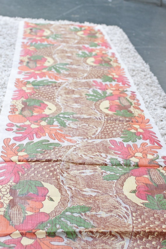 SALE - Thanksgiving Fall Autumn Plastic Table Runner Cloth