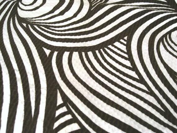 "Vintage Fabric - Brown & White Psychedelic Waves - 36""L x 44""W - J. Manes - NehiandZotz"